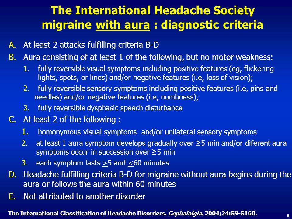 The International Headache Society migraine with aura : diagnostic criteria