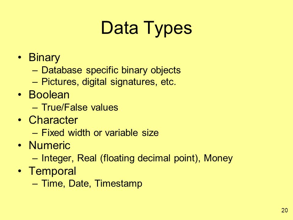 Data Types Binary Boolean Character Numeric Temporal