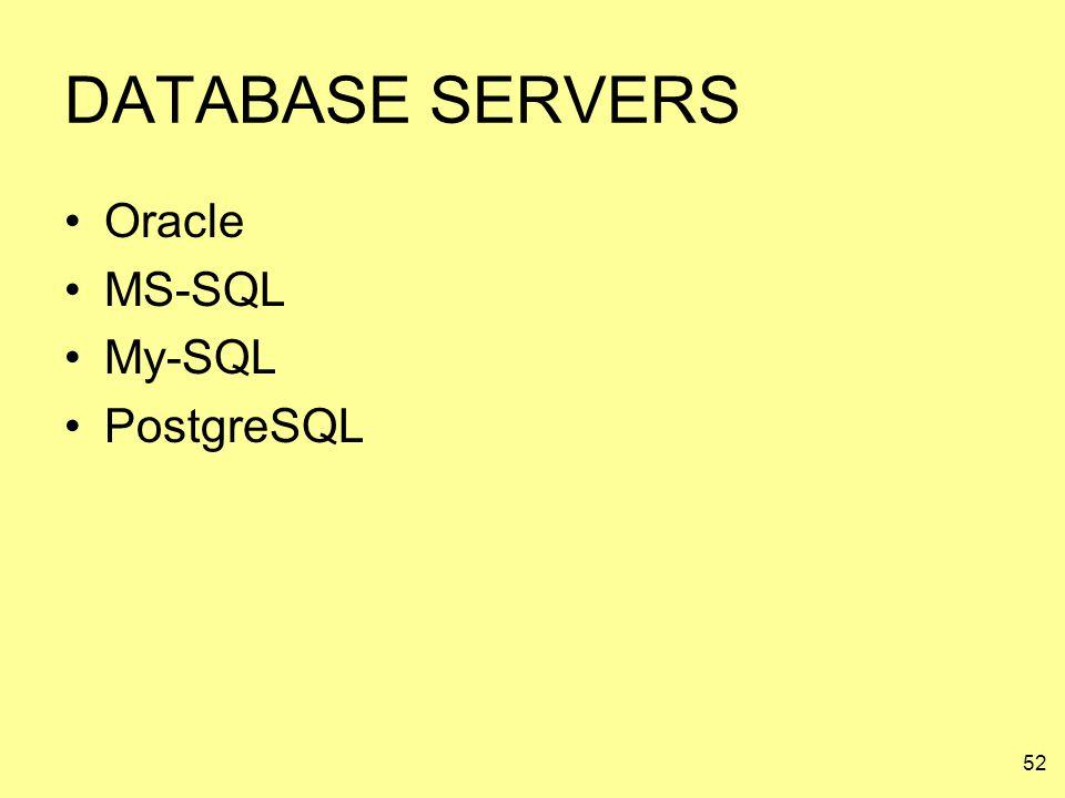 DATABASE SERVERS Oracle MS-SQL My-SQL PostgreSQL