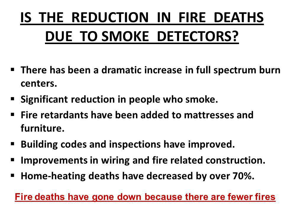 IS THE REDUCTION IN FIRE DEATHS DUE TO SMOKE DETECTORS