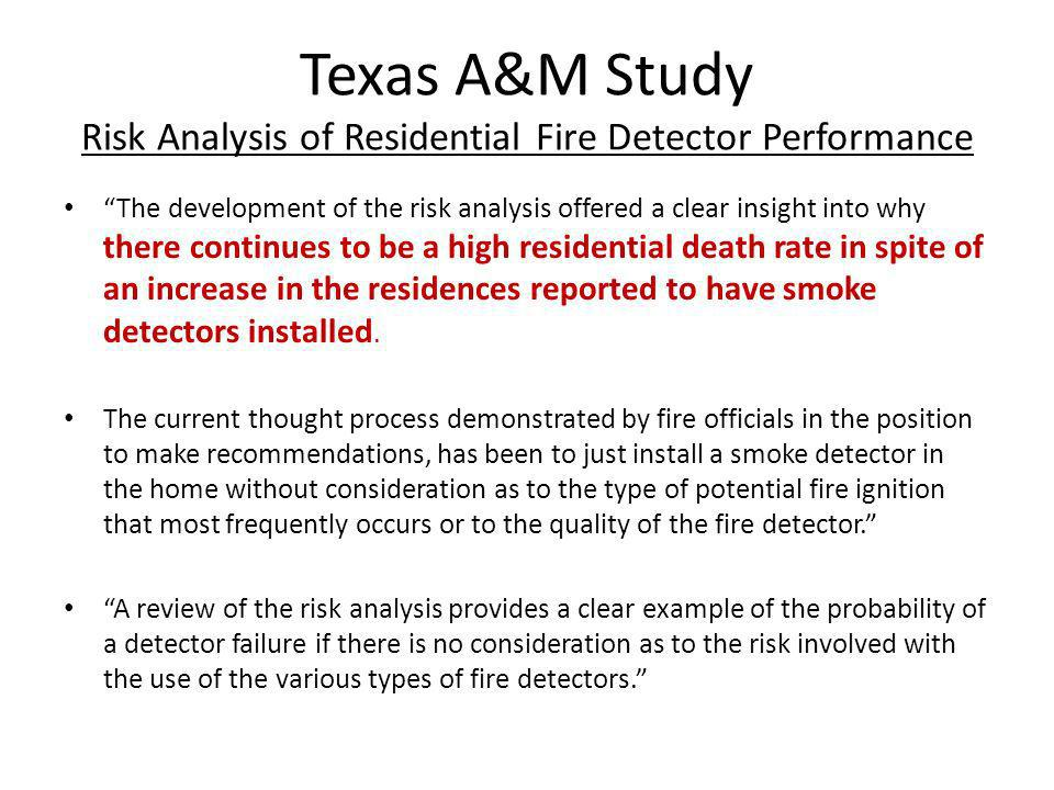 Texas A&M Study Risk Analysis of Residential Fire Detector Performance