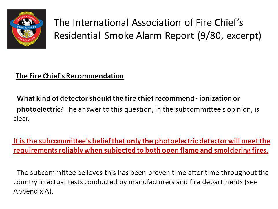 The International Association of Fire Chief's Residential Smoke Alarm Report (9/80, excerpt)