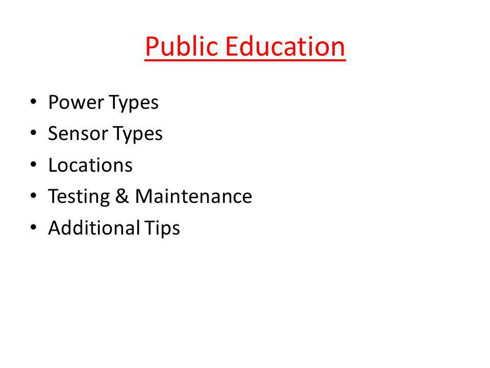 Public Education Power Types Sensor Types Locations