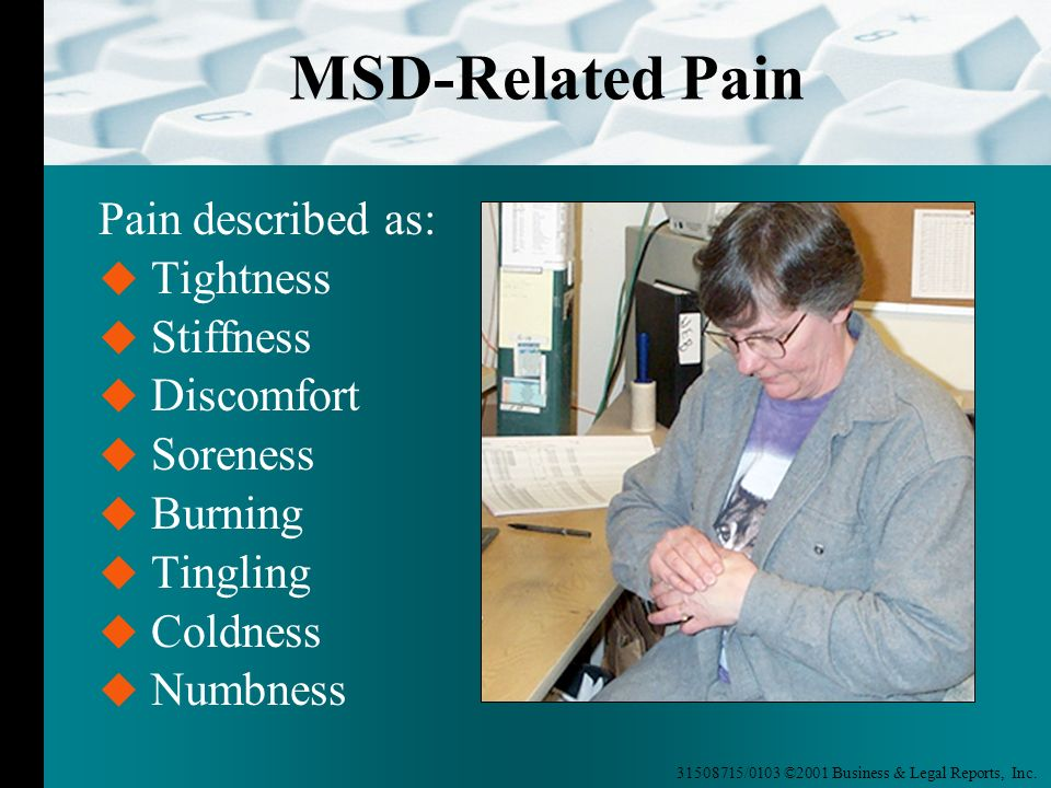 MSD-Related Pain Pain described as: Tightness Stiffness Discomfort
