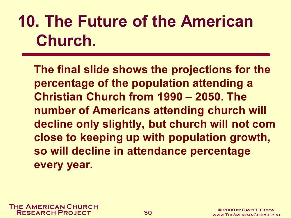 10. The Future of the American Church.
