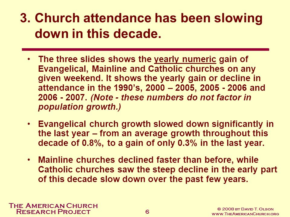 Church attendance has been slowing down in this decade.