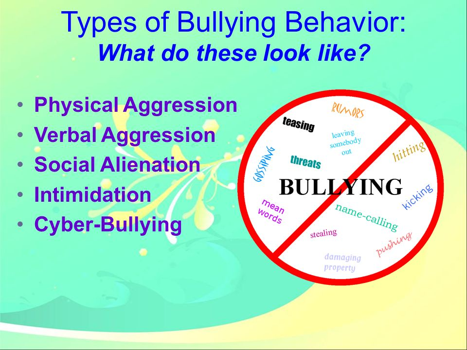 Types of Bullying Behavior: What do these look like