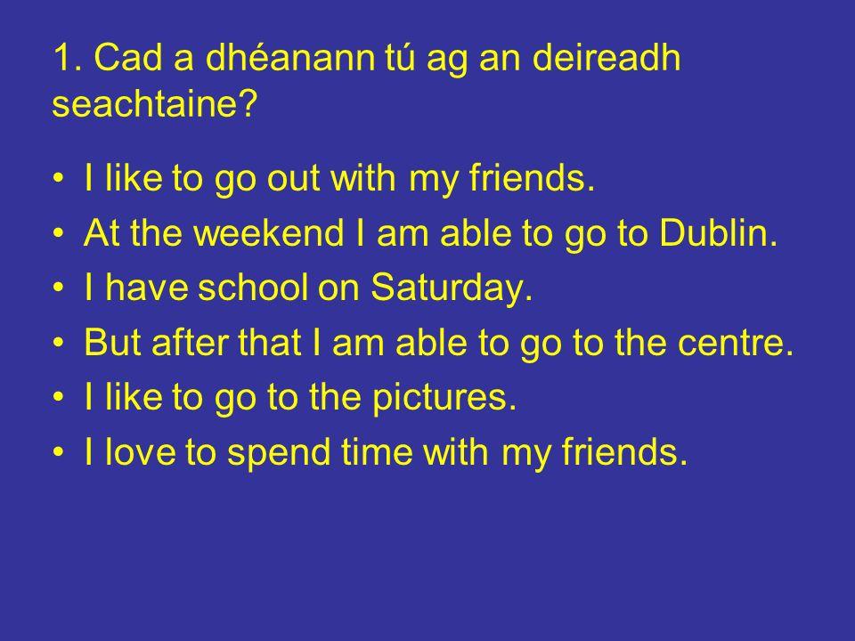 1. Cad a dhéanann tú ag an deireadh seachtaine