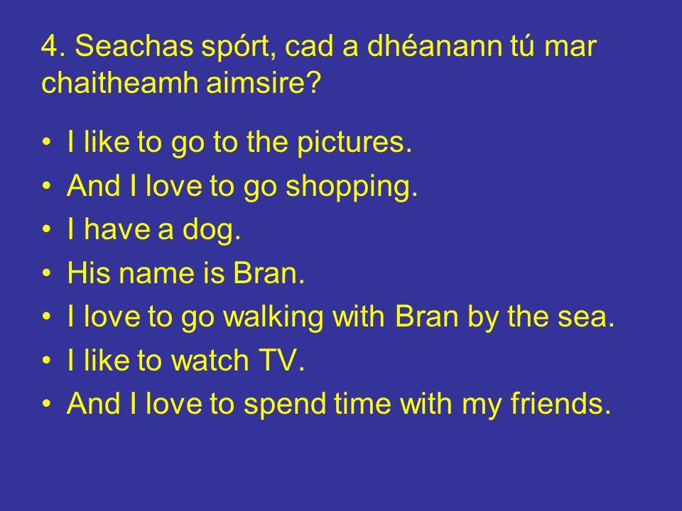 4. Seachas spórt, cad a dhéanann tú mar chaitheamh aimsire