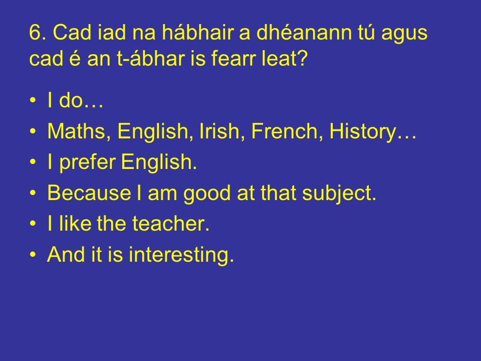 6. Cad iad na hábhair a dhéanann tú agus cad é an t-ábhar is fearr leat