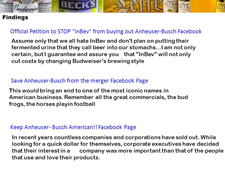 Save Anheuser-Busch from the merger Facebook Page