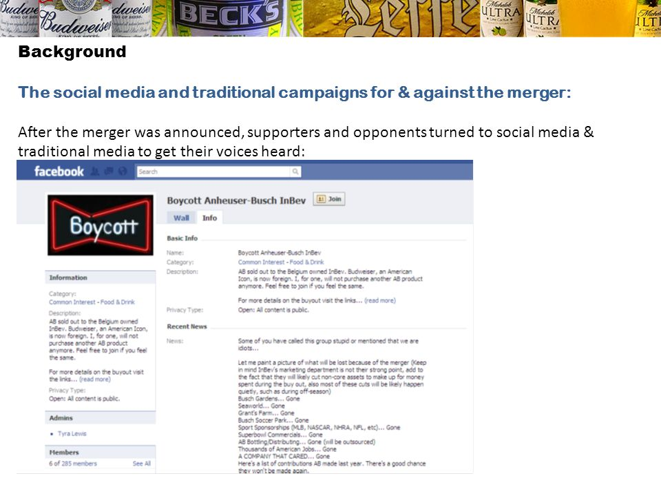 Background The social media and traditional campaigns for & against the merger: