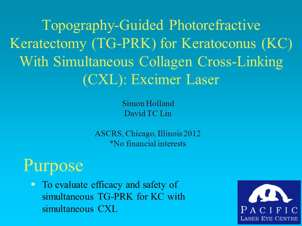 Topography-Guided Photorefractive Keratectomy (TG-PRK) for Keratoconus (KC) With Simultaneous Collagen Cross-Linking (CXL): Excimer Laser