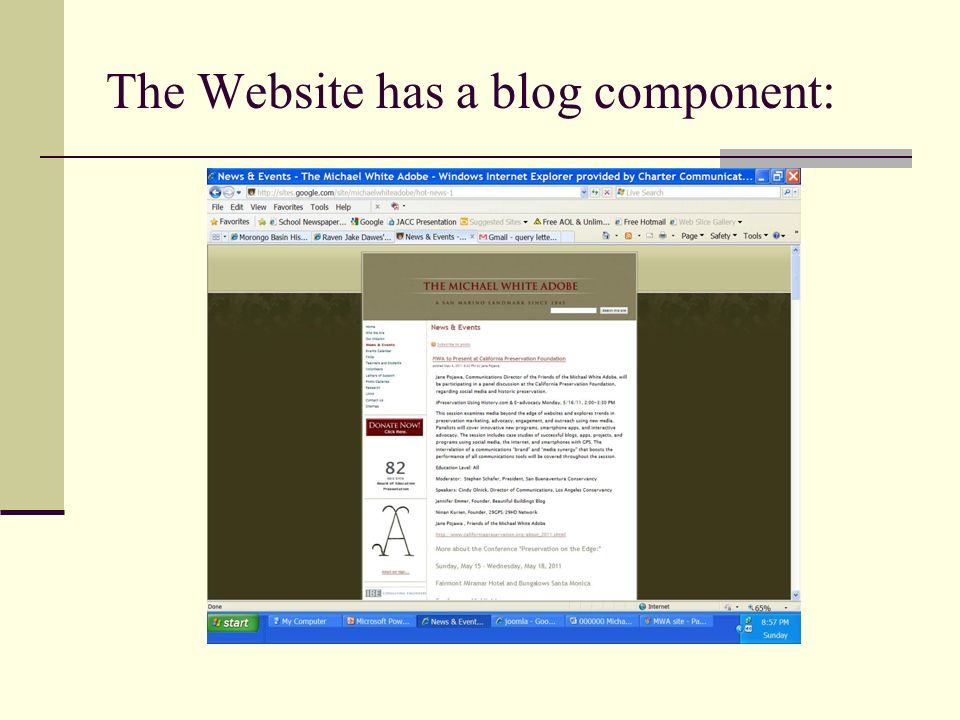The Website has a blog component: