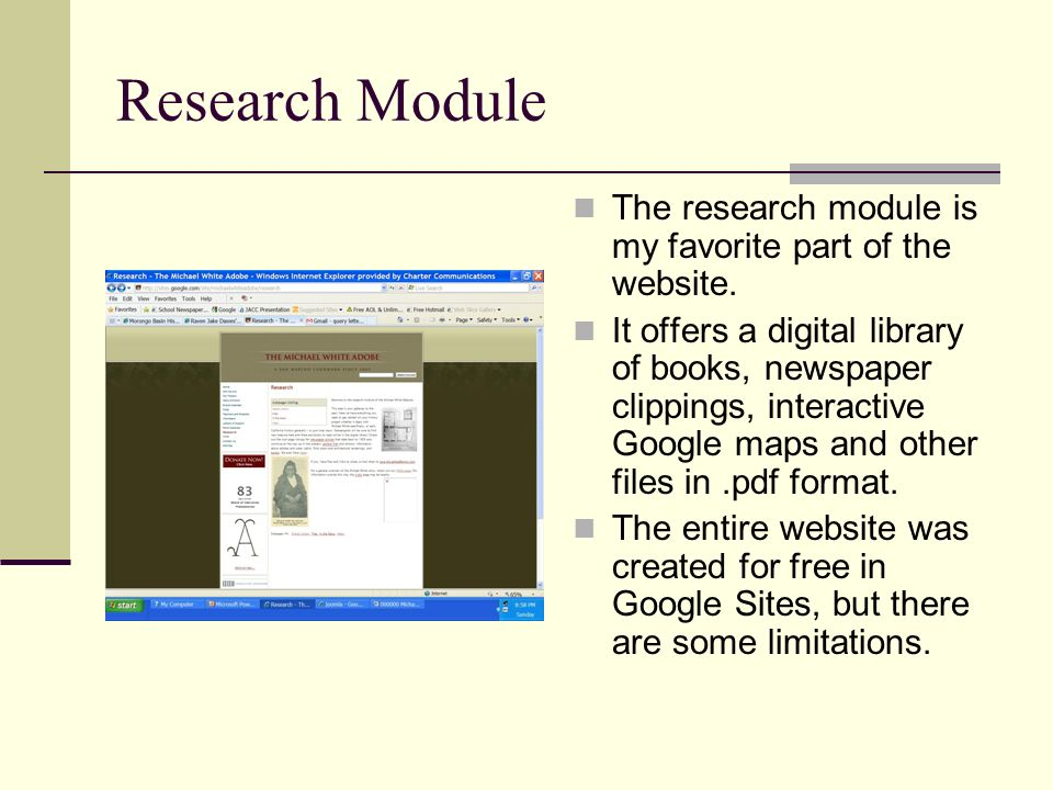 Research Module The research module is my favorite part of the website.