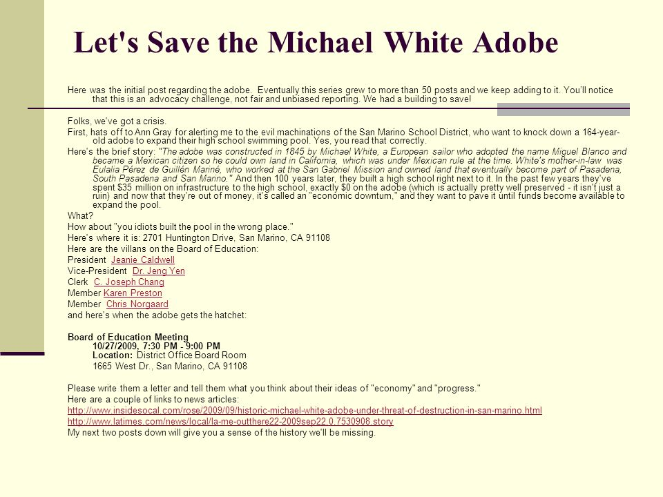 Let s Save the Michael White Adobe