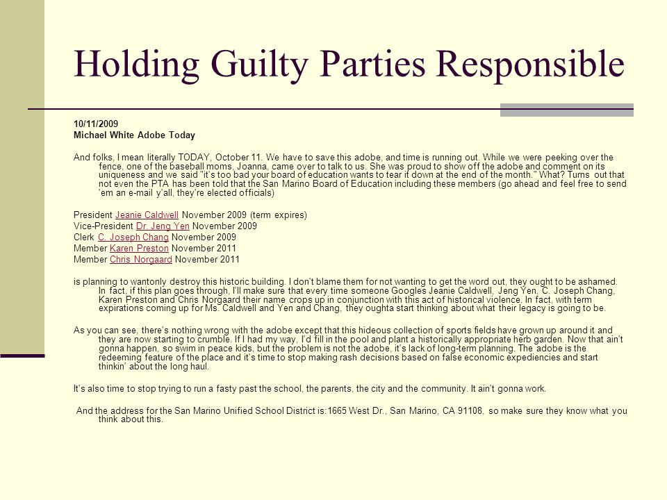 Holding Guilty Parties Responsible