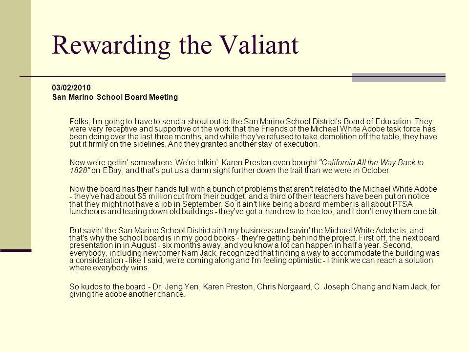 Rewarding the Valiant 03/02/2010 San Marino School Board Meeting