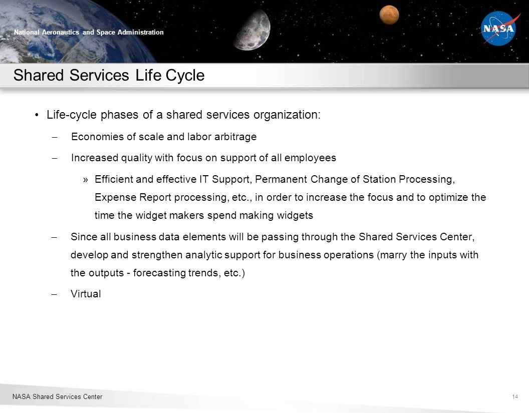 Shared Services Life Cycle