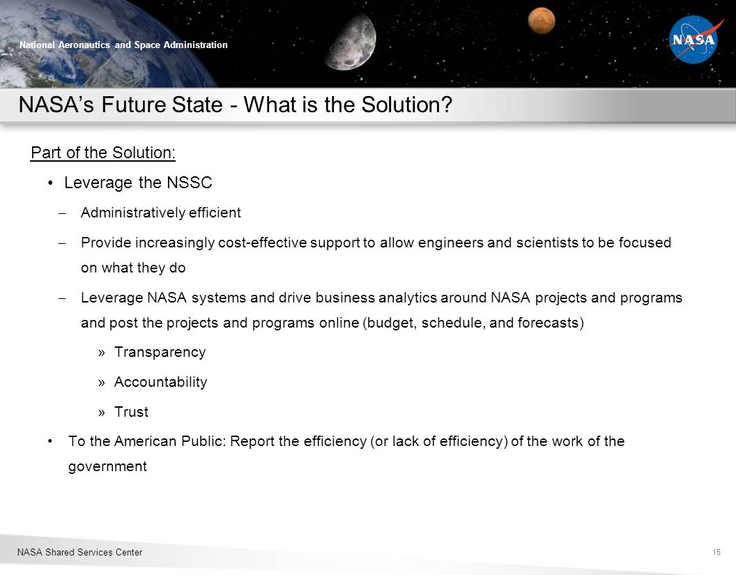 NASA's Future State - What is the Solution