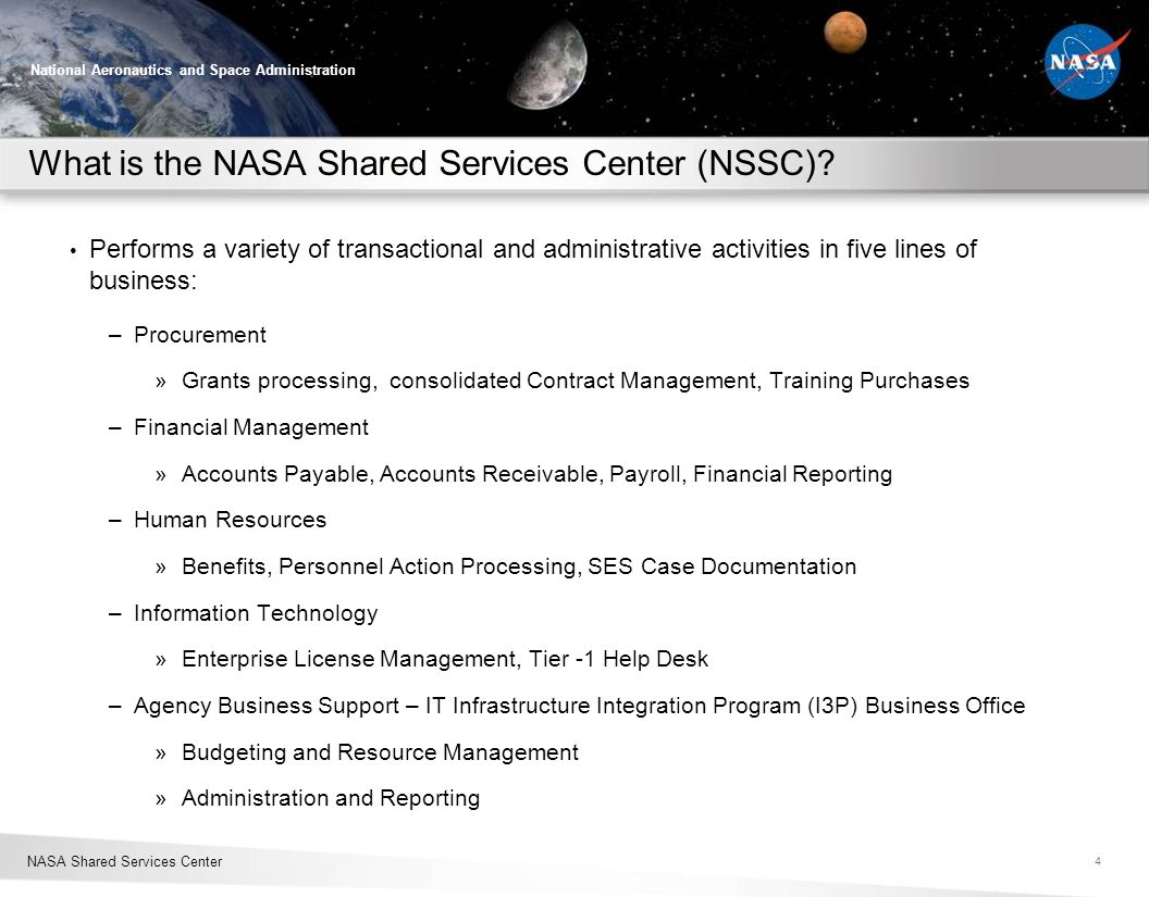 What is the NASA Shared Services Center (NSSC)