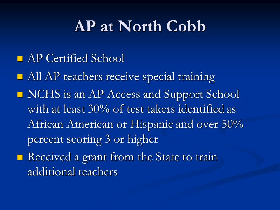 AP at North Cobb AP Certified School