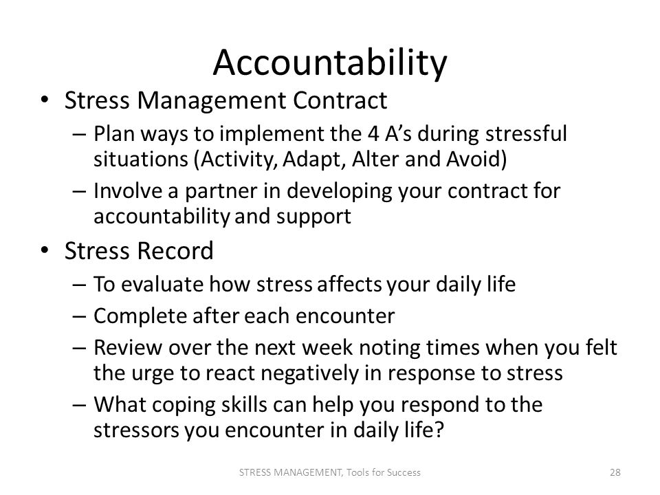 how to evaluate the effectiveness of a stress plan