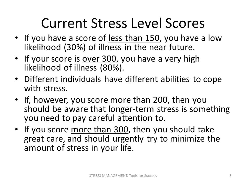Current Stress Level Scores