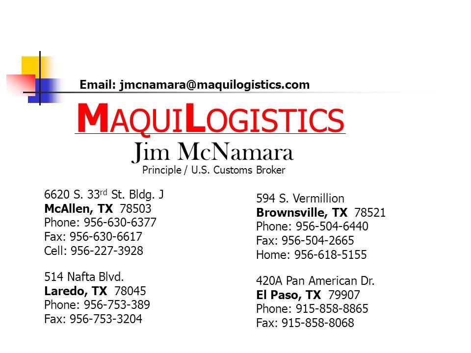 MAQUILOGISTICS Jim McNamara