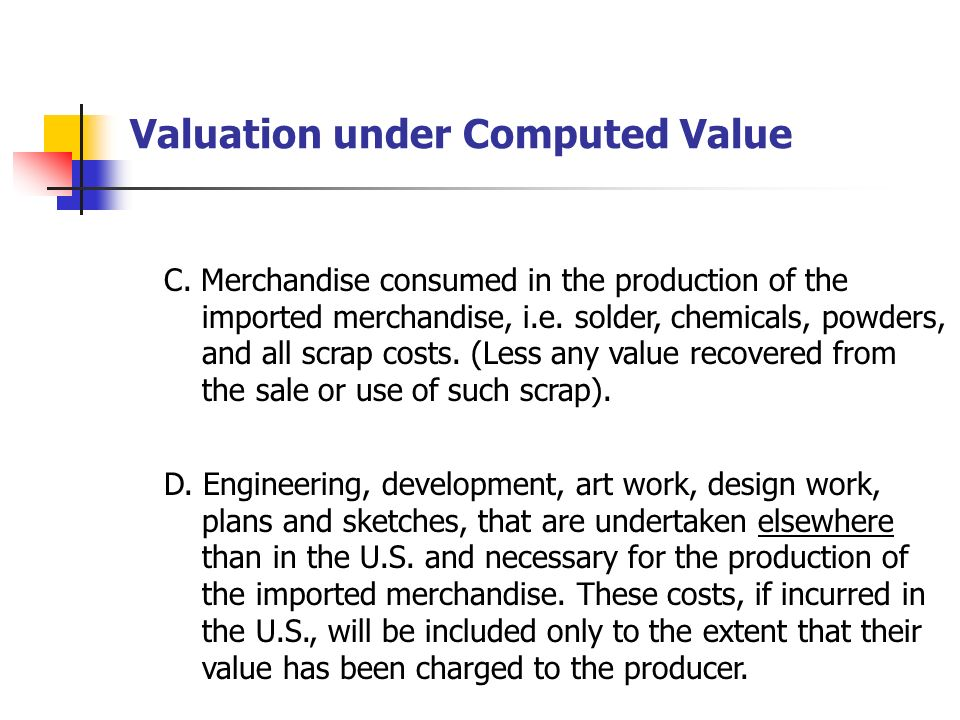 Valuation under Computed Value