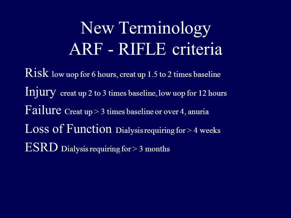 New Terminology ARF - RIFLE criteria