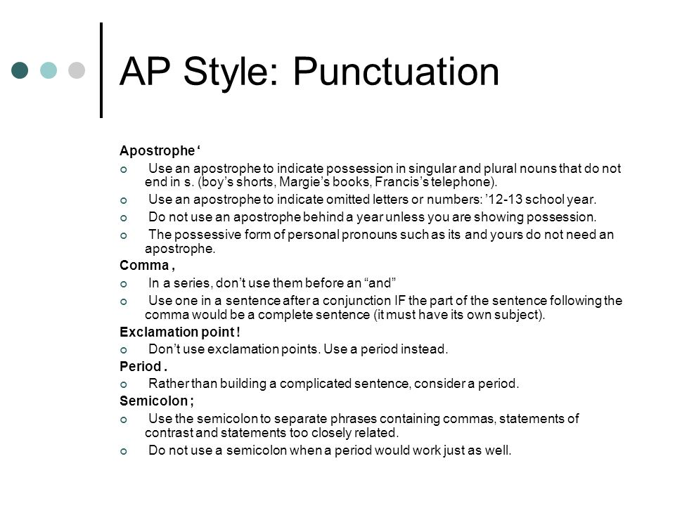 AP Style: Punctuation Apostrophe '