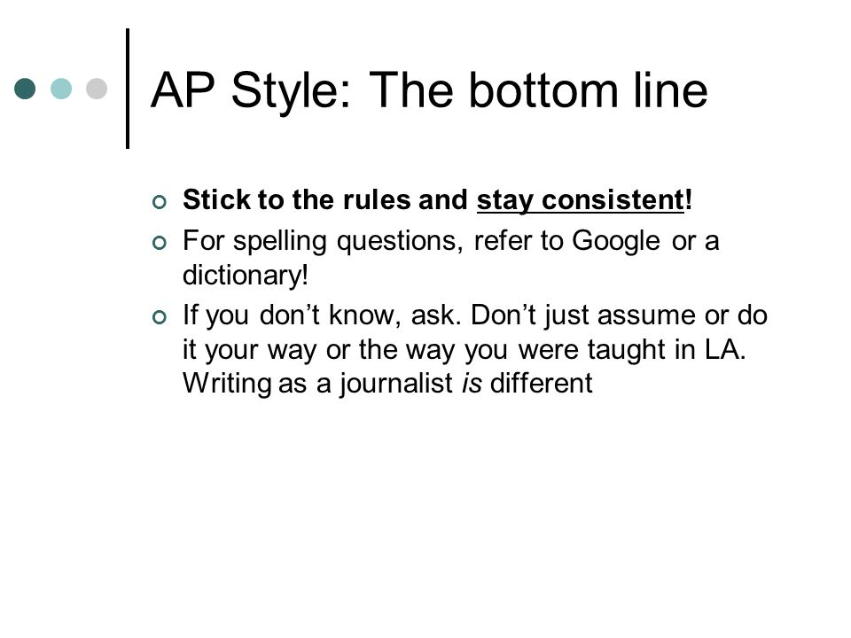 AP Style: The bottom line