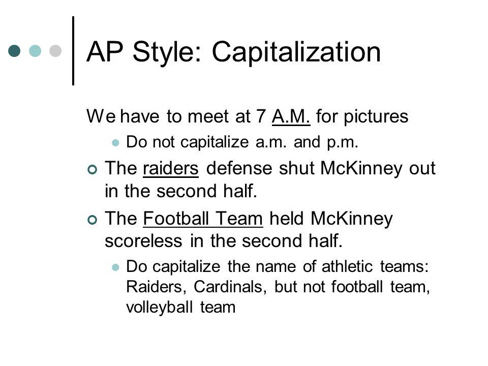 AP Style: Capitalization