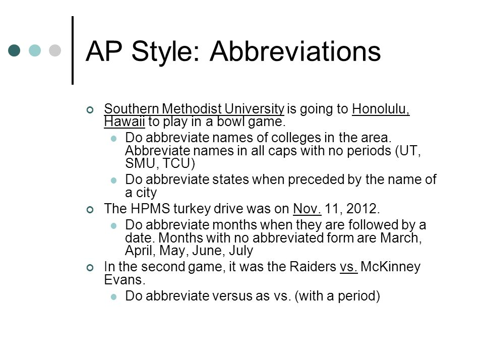 AP Style: Abbreviations
