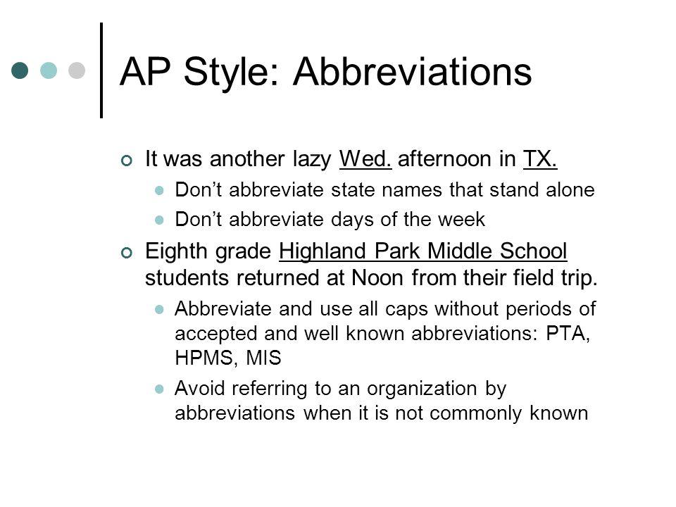 AP Style: Abbreviations