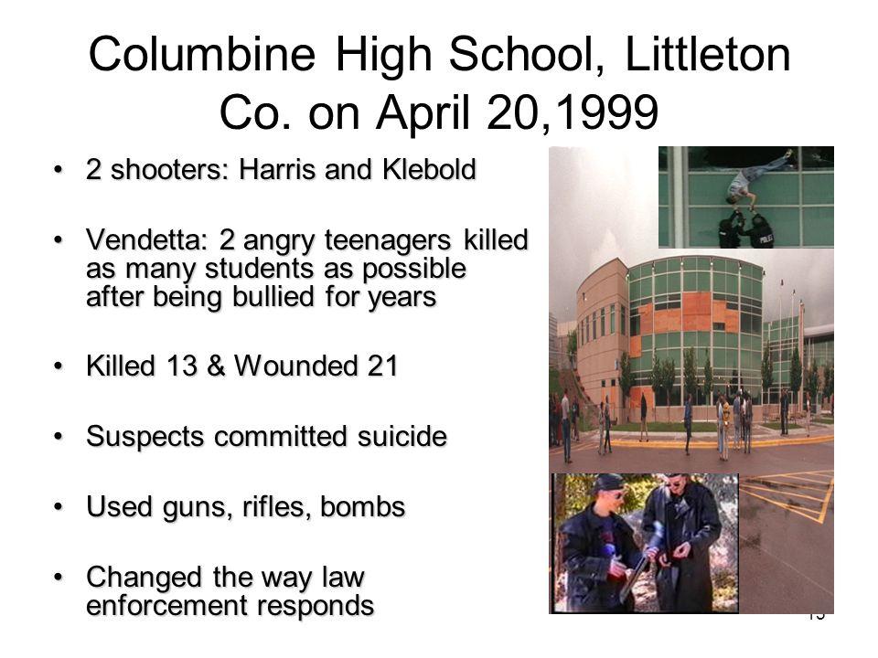 Columbine High School, Littleton Co. on April 20,1999