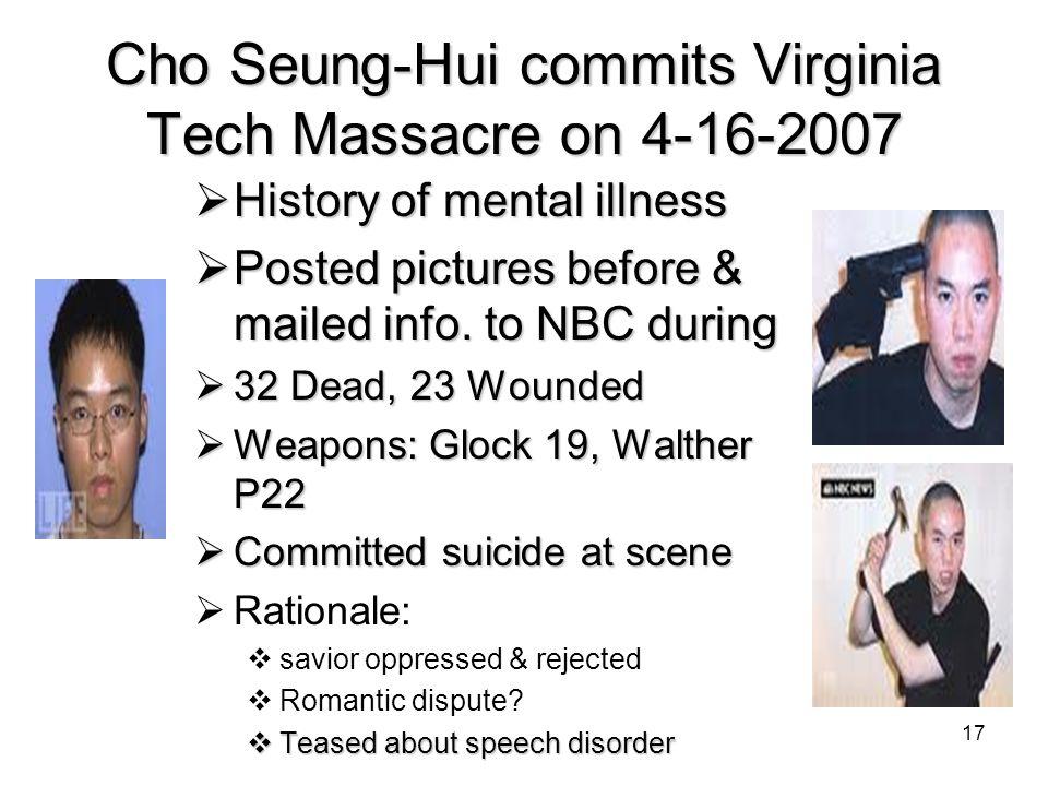 Cho Seung-Hui commits Virginia Tech Massacre on 4-16-2007