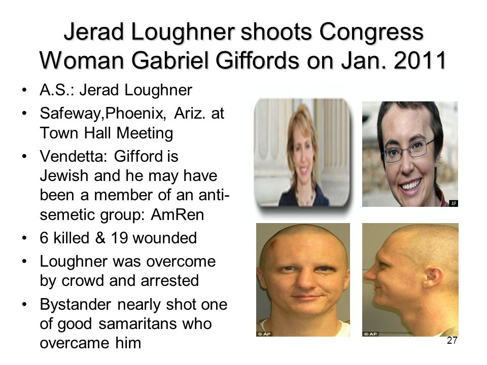 Jerad Loughner shoots Congress Woman Gabriel Giffords on Jan. 2011