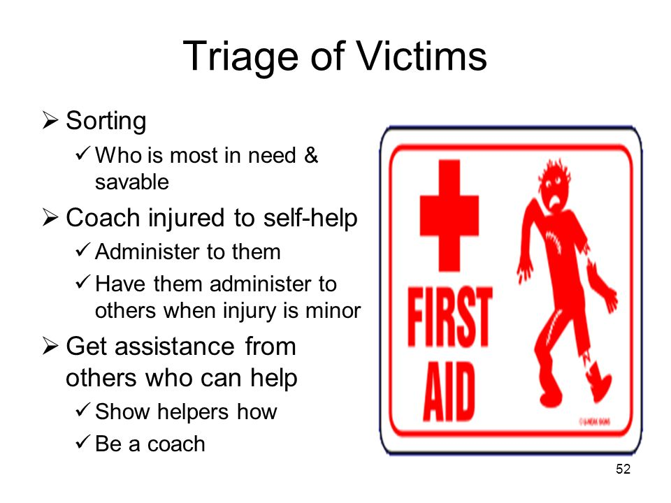Triage of Victims Sorting Coach injured to self-help