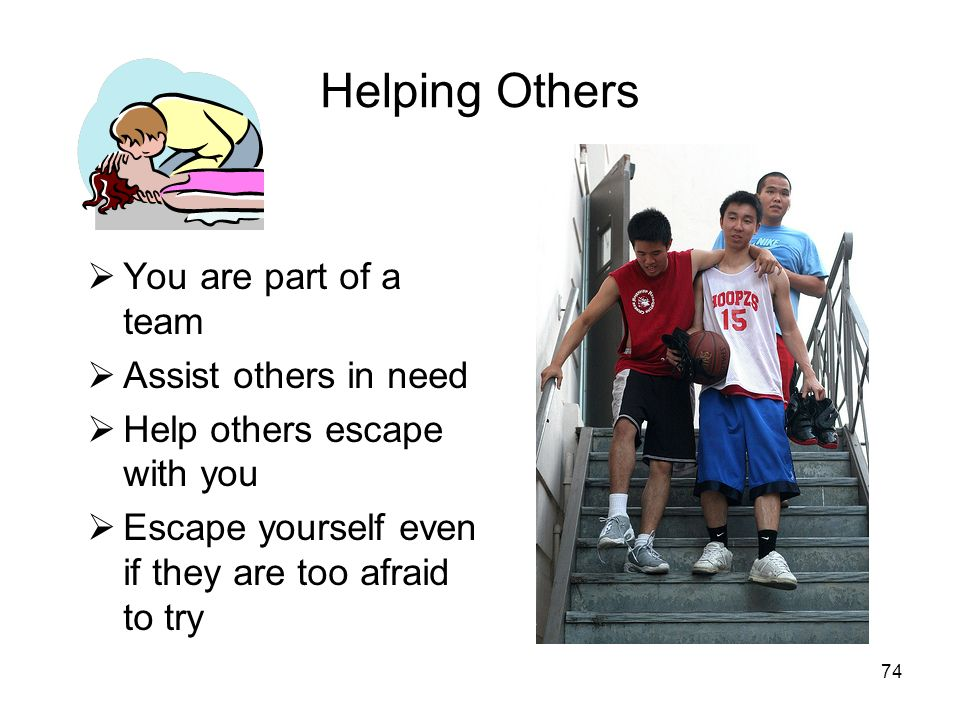 Helping Others You are part of a team Assist others in need