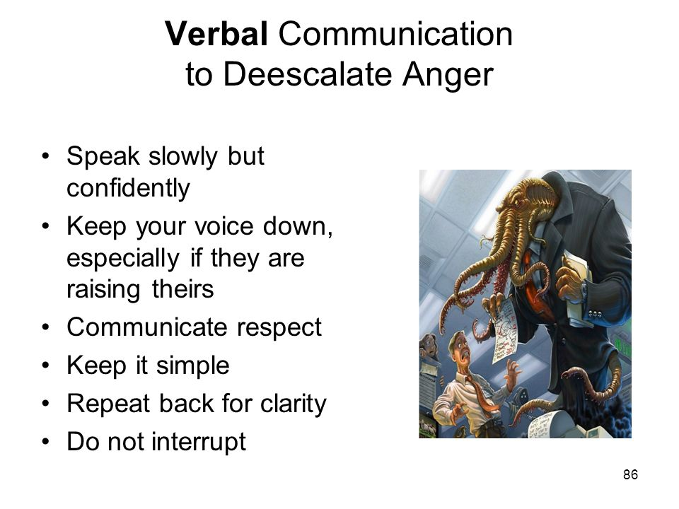 Verbal Communication to Deescalate Anger