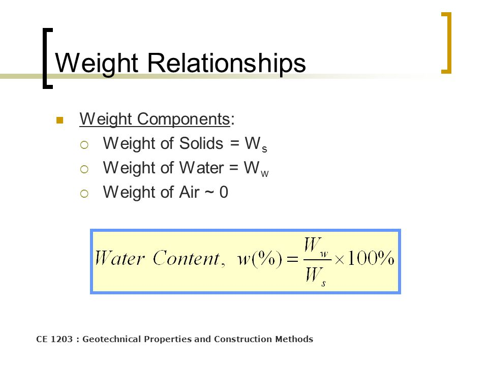 Weight Relationships Weight Components: Weight of Solids = Ws