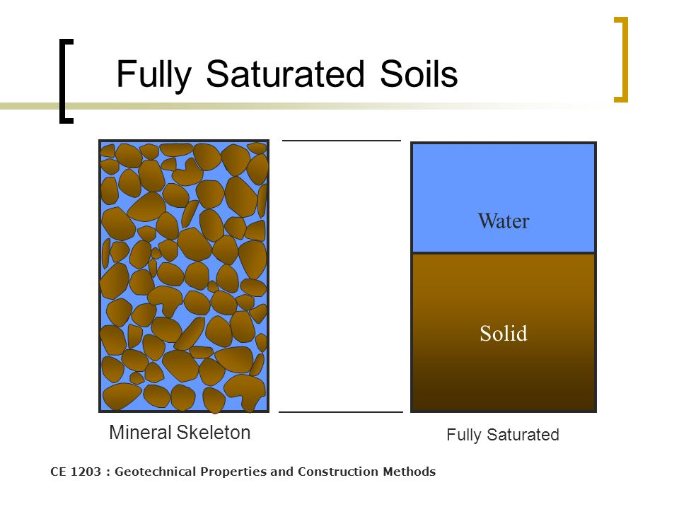 Fully Saturated Soils Water Solid Mineral Skeleton Fully Saturated
