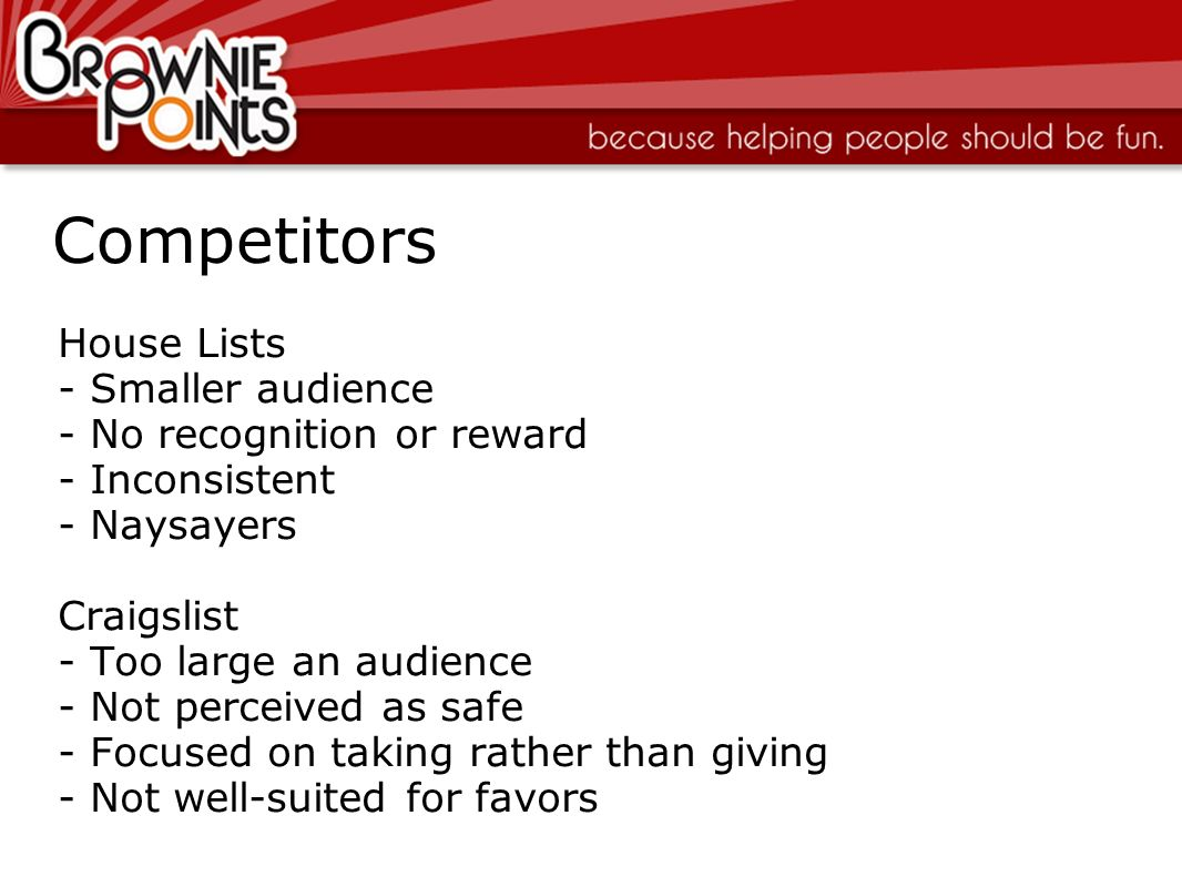 Competitors House Lists Smaller audience No recognition or reward