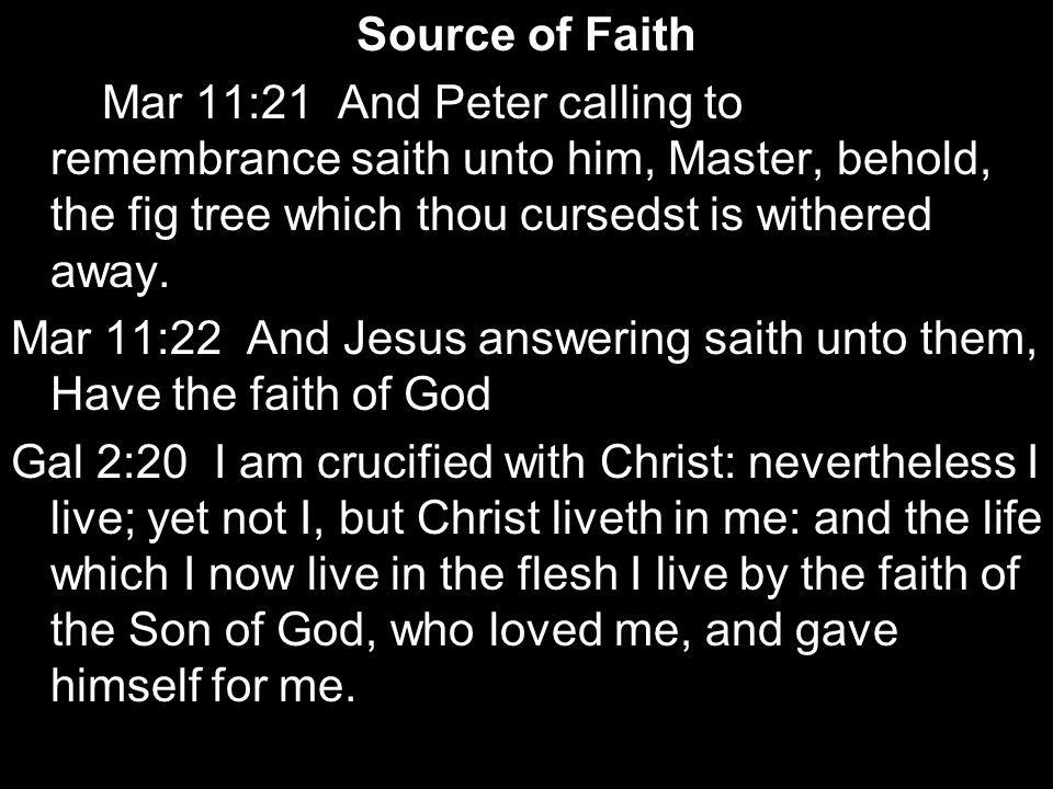 Source of Faith Mar 11:21 And Peter calling to remembrance saith unto him, Master, behold, the fig tree which thou cursedst is withered away.