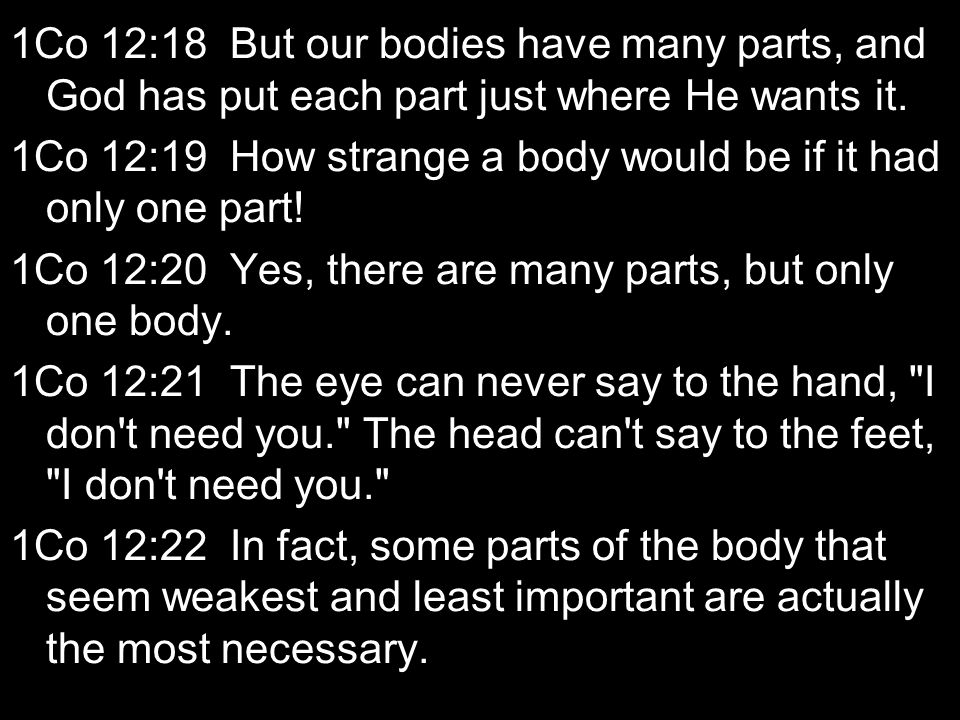 1Co 12:18 But our bodies have many parts, and God has put each part just where He wants it.