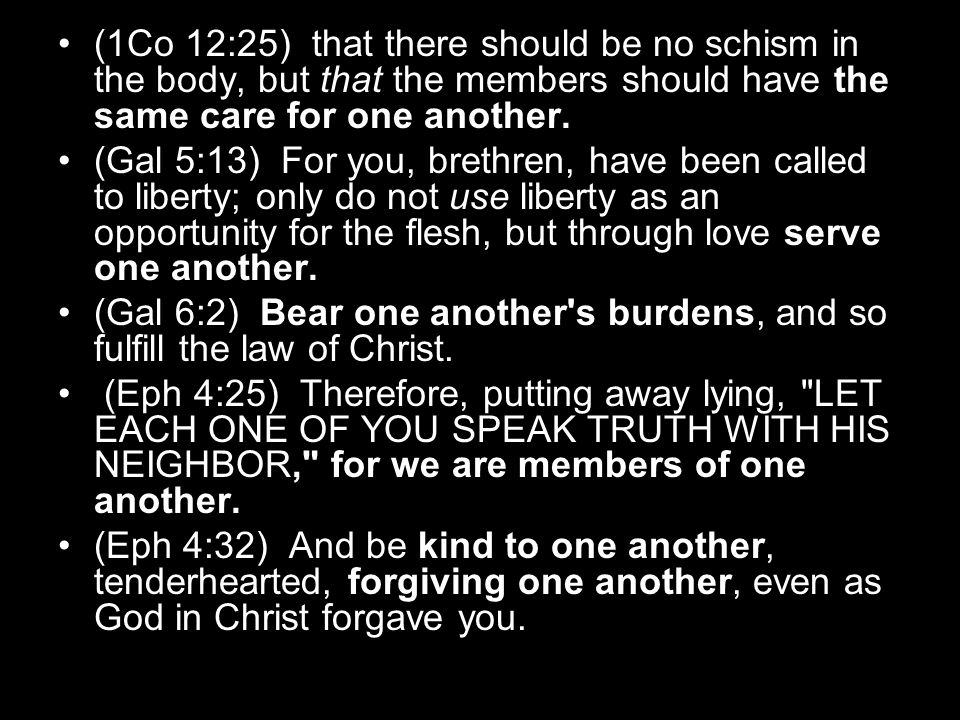 (1Co 12:25) that there should be no schism in the body, but that the members should have the same care for one another.