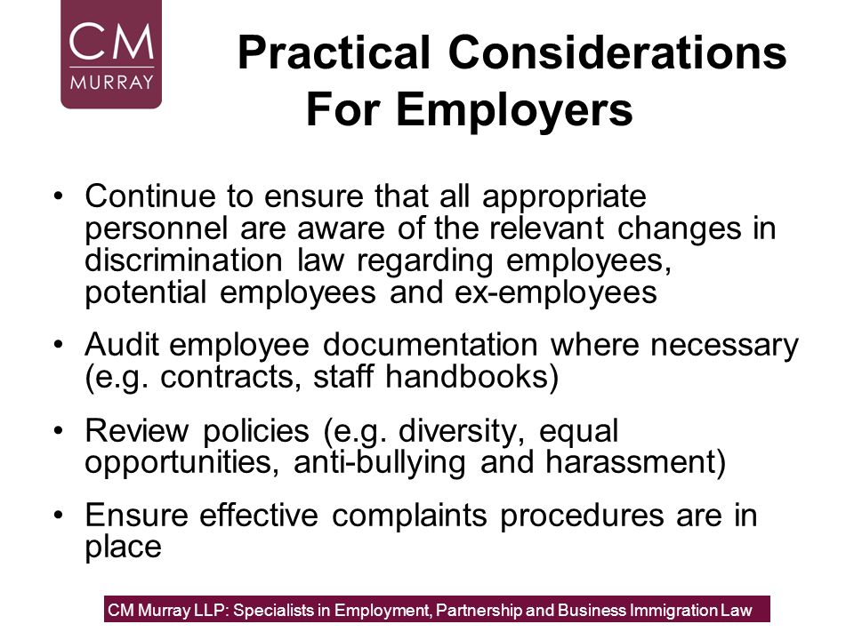 Practical Considerations For Employers