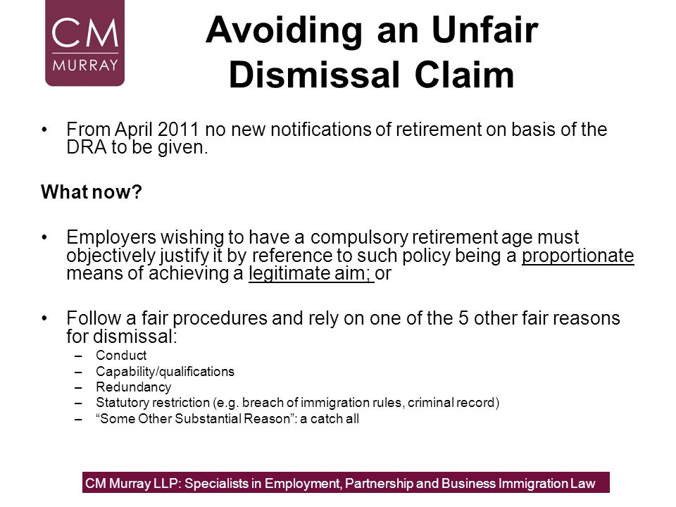 Avoiding an Unfair Dismissal Claim